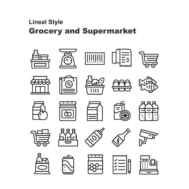 食料品とスーパーマーケット Premiumベクター