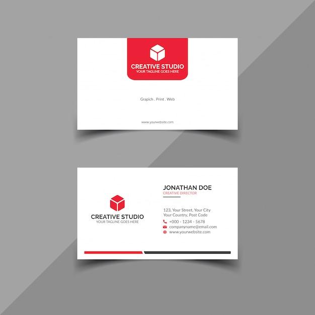 Чистая белая визитка с красными деталями Premium векторы