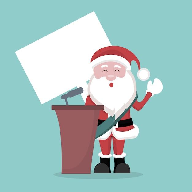 Рождественская открытка президента клана санта-клауса Premium векторы