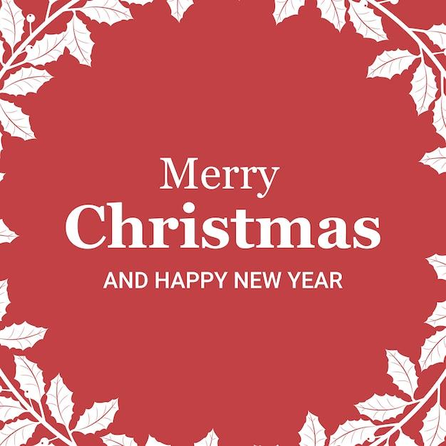 角の中に枝を持つクリスマスカード Premiumベクター