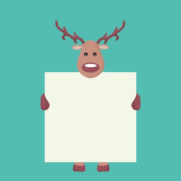 白い看板を持っているトナカイクリスマスカード Premiumベクター