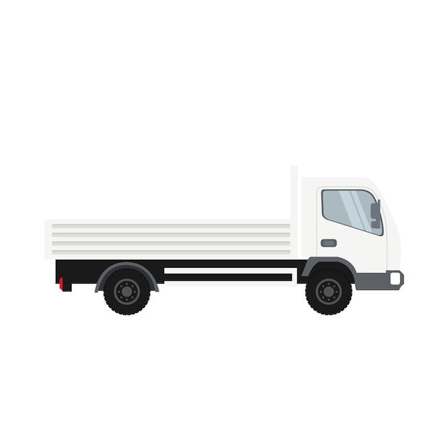 白い色の貨物トラック Premiumベクター