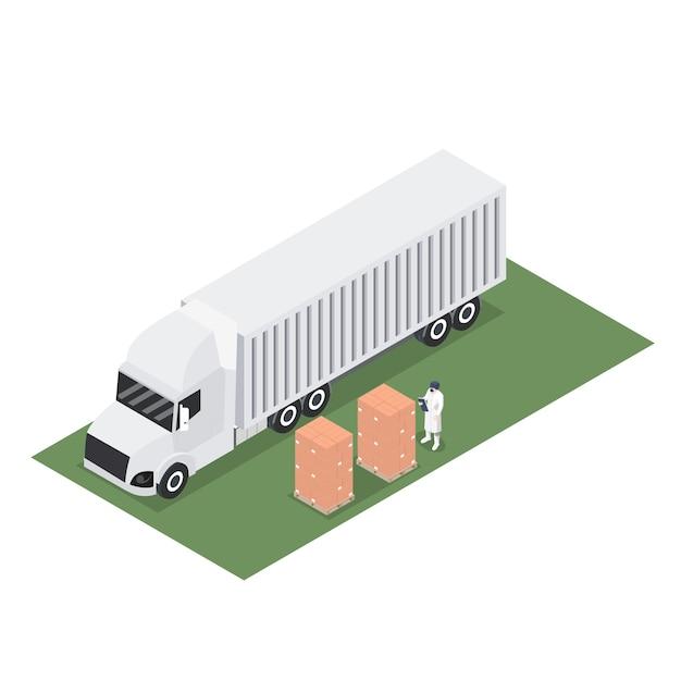 輸出パレットの出荷とトレーラーコンテナーの等尺性 Premiumベクター