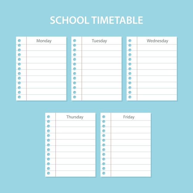 Творческое школьное расписание с поцарапанными листами дней недели Premium векторы