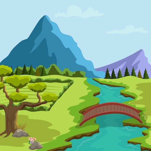 Весенний пейзаж иллюстрация с рекой и горами и растительностью Premium векторы