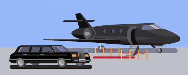 レッドカーペットのフラットなデザインのリムジン車と空港のプライベートジェット Premiumベクター