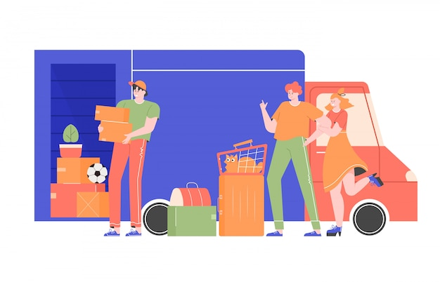 Счастливая семья с кошкой и сумками возле грузовика с вещами. сотрудник транспортной компании грузчик грузит ящики с вещами в машину. переезд на новую квартиру, дом. плоская иллюстрация. Premium векторы