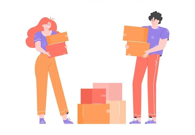 Молодая пара переезжает в новый дом. парень и девушка стоят рядом и держат картонные коробки. ипотека и аренда жилья. плоская иллюстрация с яркими персонажами. Premium векторы