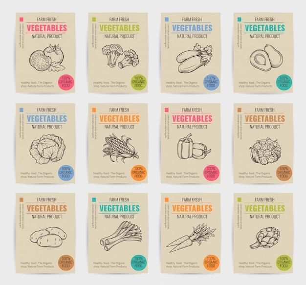 Набор рисованной овощи плакаты. Premium векторы
