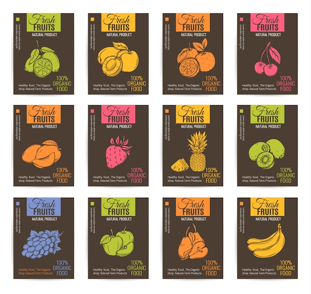 Набор рисованной фрукты плакаты. Premium векторы