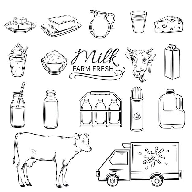 Набор рисованной декоративные значки молока Premium векторы