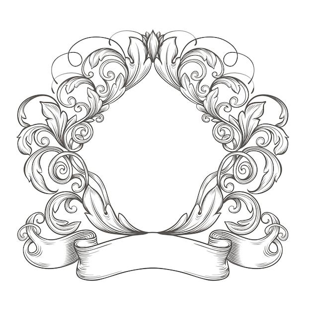 Ретро винтаж эмблема, цветочные картуш. старинные гравюры рамки границы с ретро орнамент рисунком в античном стиле рококо декоративный дизайн Premium векторы