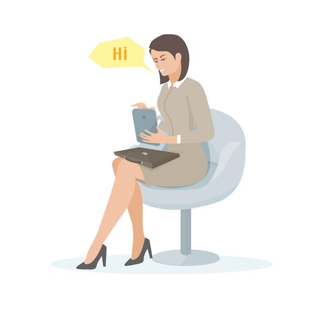 Иллюстрация молодой женщины с планшетом Premium векторы