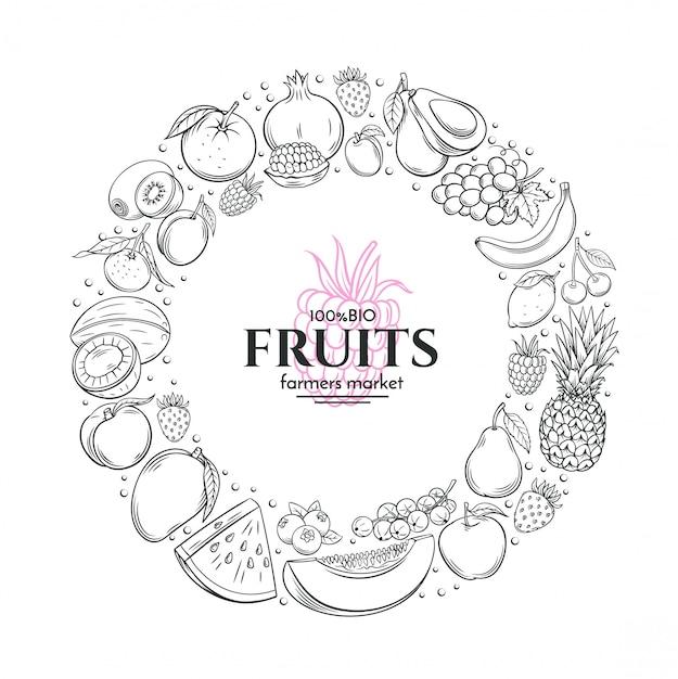 Рамка с рисованной фруктов Premium векторы