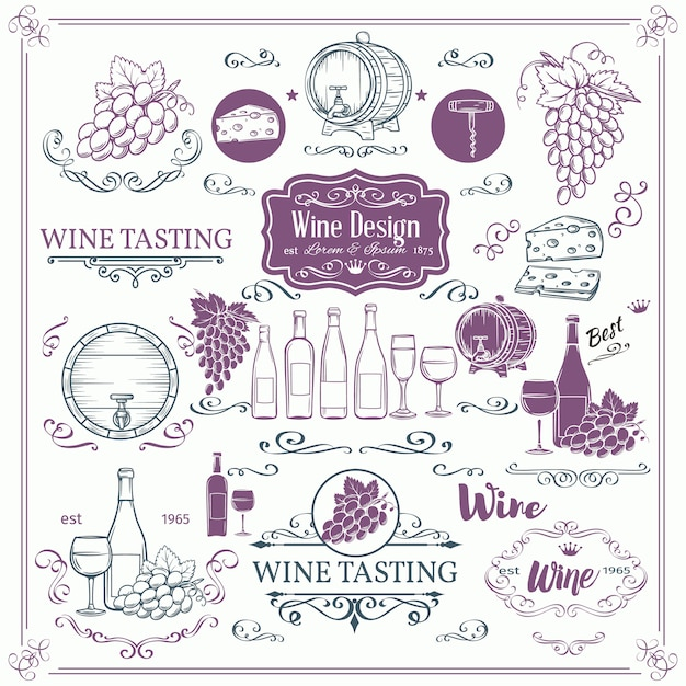 Декоративные старинные винные иконы. чернила винтажные для винного магазина. элементы виноделия и каллиграфии вихрем для винных этикеток карточек брошюр. Premium векторы