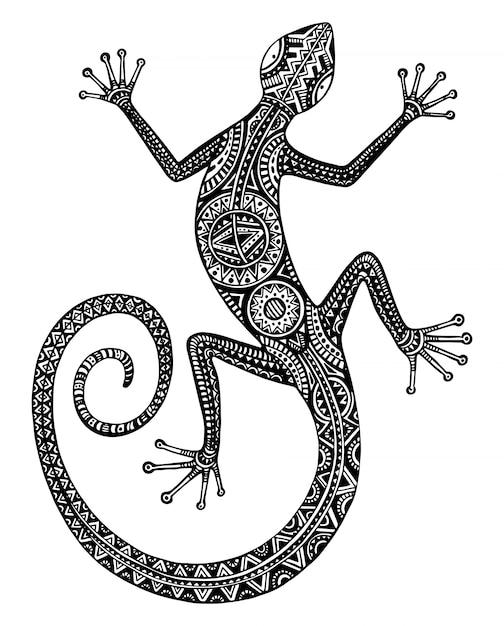 手描きのトカゲや部族のパターンを持つサラマンダー Premiumベクター