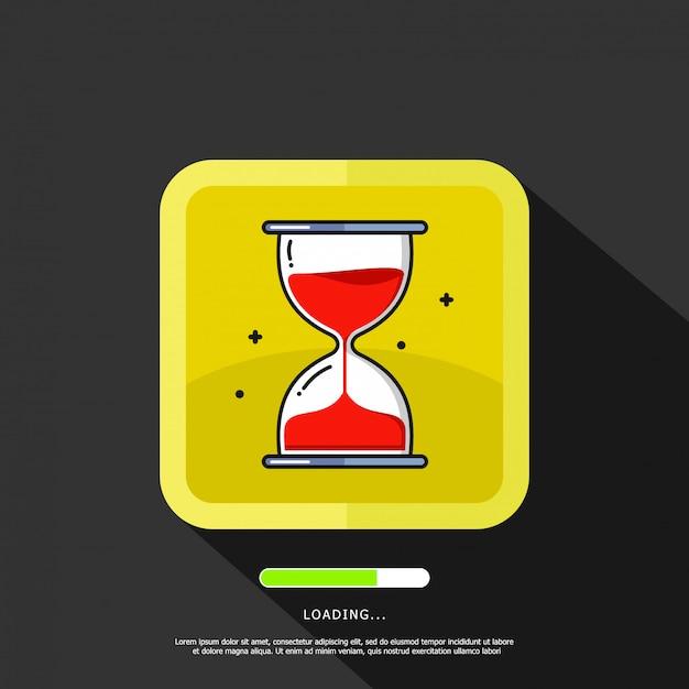 テキストテンプレートの読み込みと砂時計のイラスト要素 Premiumベクター