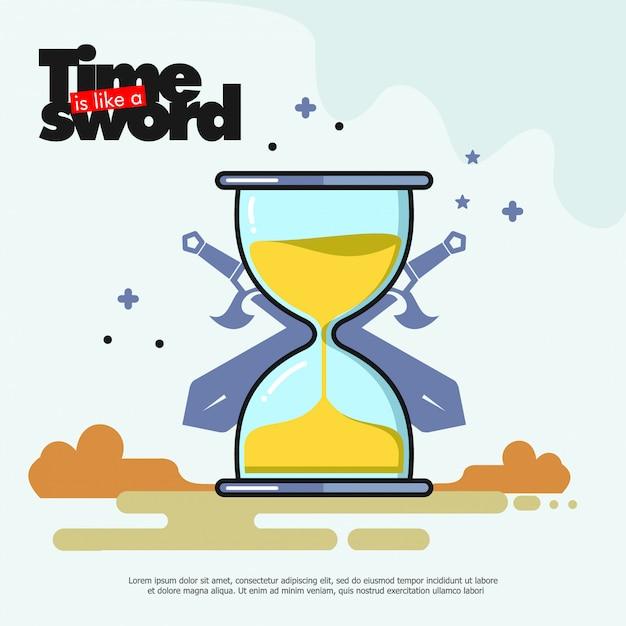 Шаблон баннера иллюстрации песочных часов Premium векторы