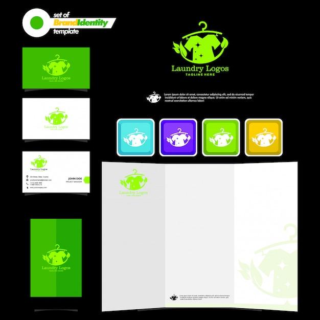 Шаблон бизнес-брендинга с логотипом прачечной, визитной карточкой, листовкой и смартфоном Premium векторы