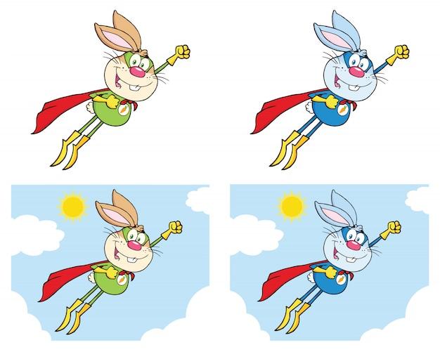 うさぎスーパーヒーロー漫画のマスコットキャラクターセット Premiumベクター