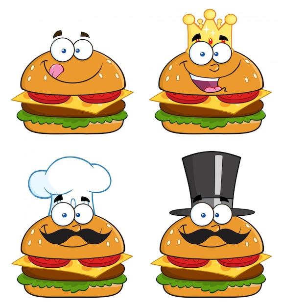 ハンバーガーのキャラクターの漫画のイラスト Premiumベクター