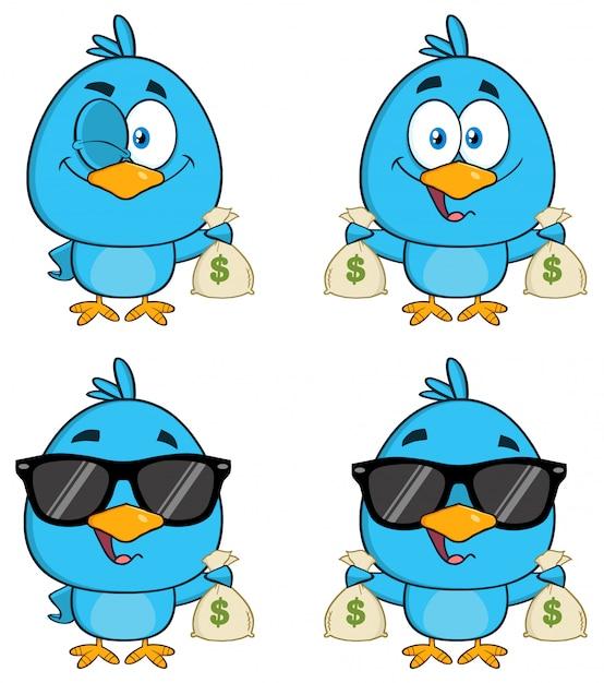 かわいい青い鳥の漫画のキャラクター Premiumベクター