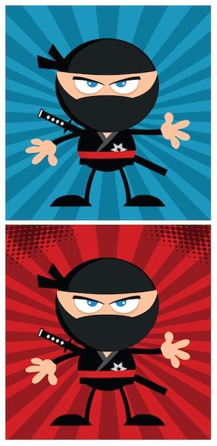 モダンフラットデザインの忍者の戦士の漫画のキャラクター Premiumベクター
