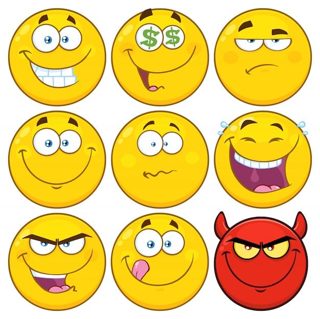 面白い黄色い漫画絵文字顔シリーズキャラクターセット Premiumベクター