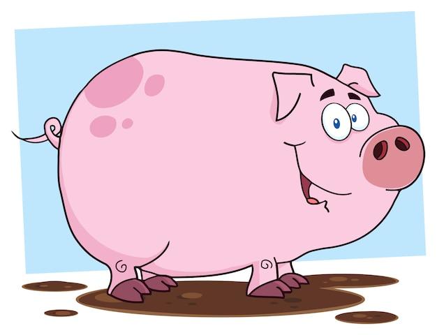 かわいい豚の漫画のキャラクター Premiumベクター