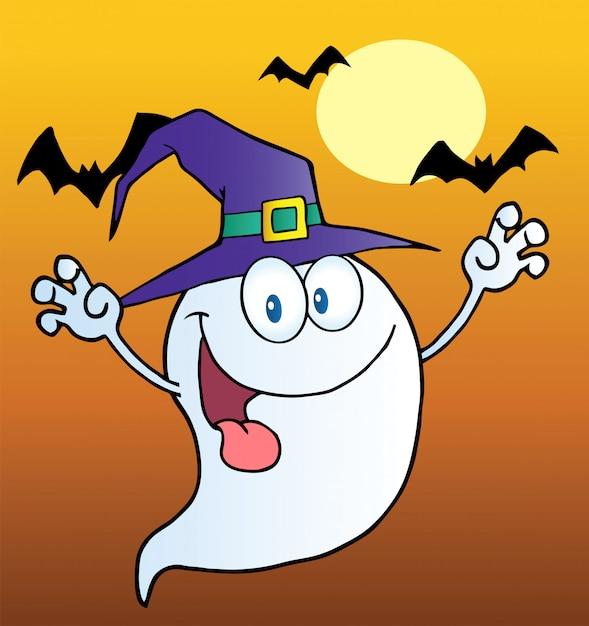 オレンジ色のバットの上に魔女の帽子をかぶっているおかしい幽霊 Premiumベクター