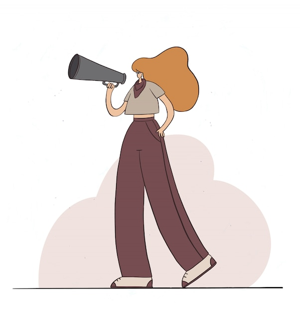 スピーカーを持って話している女の子。メガホンで叫んでいる女性キャラクター。女性の力、活動家、抗議。フラット漫画イラスト。 Premiumベクター