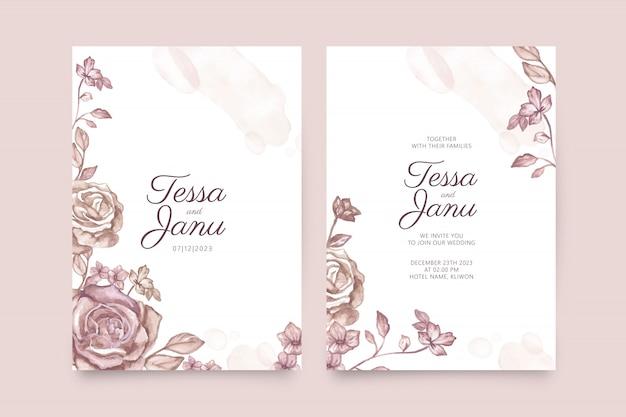 結婚式の招待状のテンプレートに花の水彩画 Premiumベクター