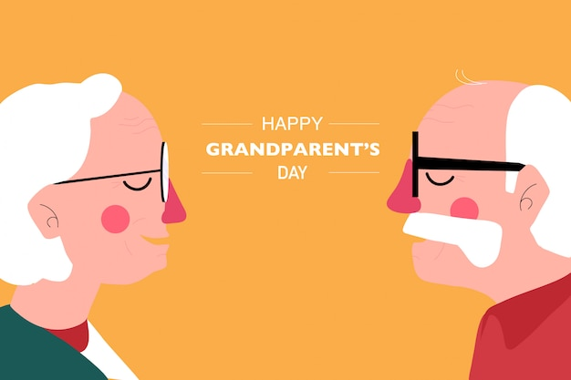 幸せな祖父母の日の背景。祖父と祖母の側面図 Premiumベクター