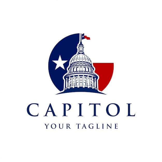 国会議事堂のドームのロゴデザインのインスピレーション Premiumベクター