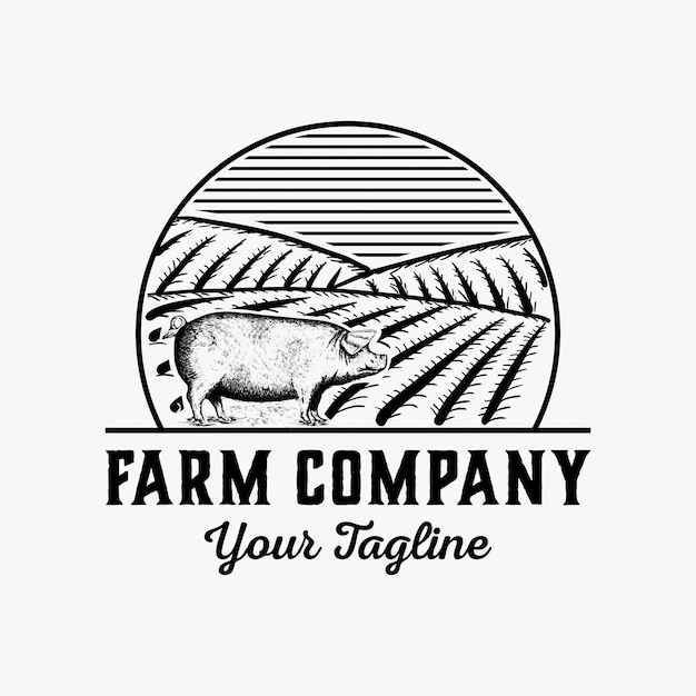 手描きの農場のロゴデザインベクトル Premiumベクター