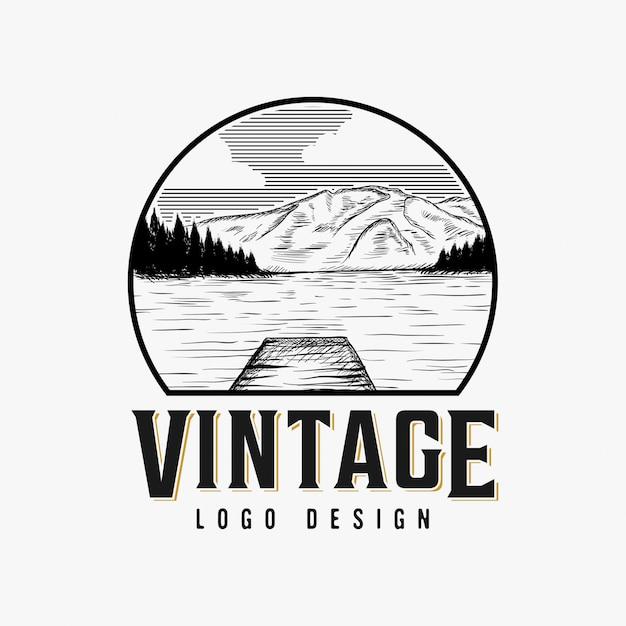 Урожай озерного пейзажа дизайн логотипа вдохновения Premium векторы