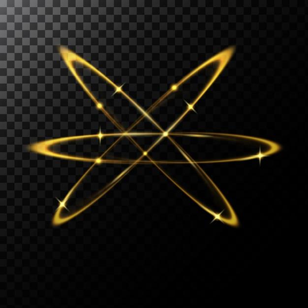 ゴールデンサークルの形の光の効果のベクトル抽象的な図 無料ベクター