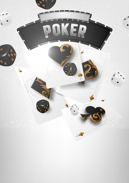 Казино покерный турнир баннер. игральные фишки и карты. роял флеш покерная комбинация. Premium векторы