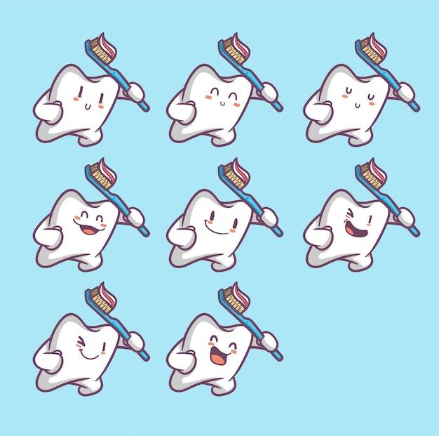 面白い歯のセット Premiumベクター