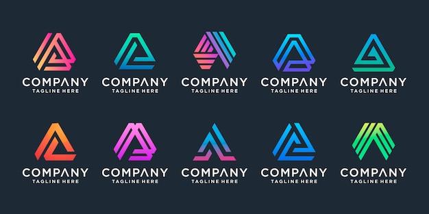 Набор креативной буквы а логотип Premium векторы