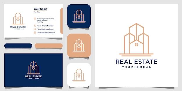 ラインアートのロゴデザインを構築します。ロゴデザインと名刺セット Premiumベクター