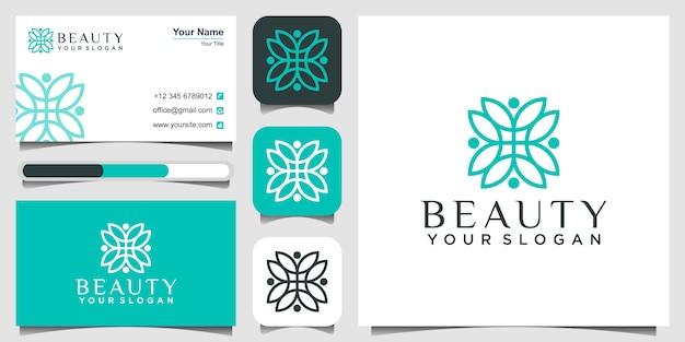 花、美容コンセプト、名刺のロゴ Premiumベクター