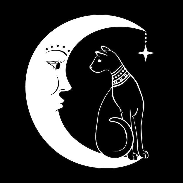 月の黒い猫。 Premiumベクター