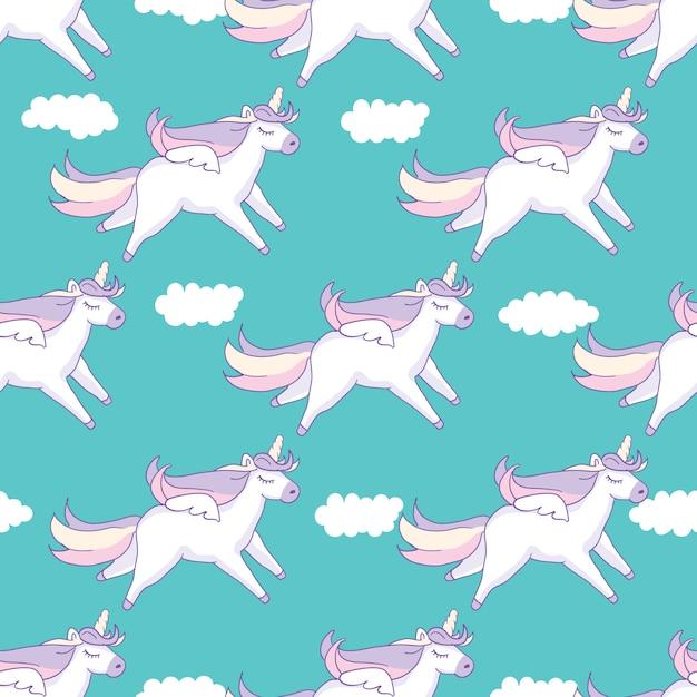シームレスパターン背景。ペガサスと雲とユニコーンのようなかわいい豚。 Premiumベクター