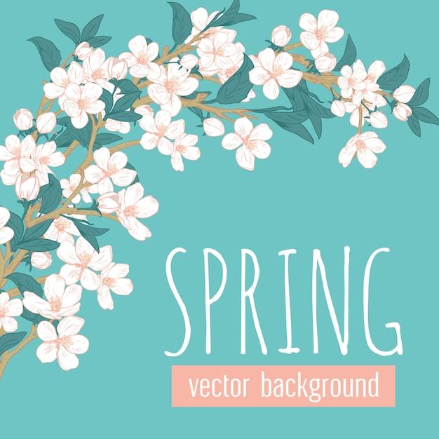 青緑色の背景とサンプルテキストの春の花と枝。 Premiumベクター
