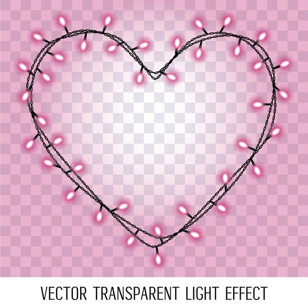 透明な背景に分離された輝くピンクパープルライトとハートの形をしたガーランド。 Premiumベクター
