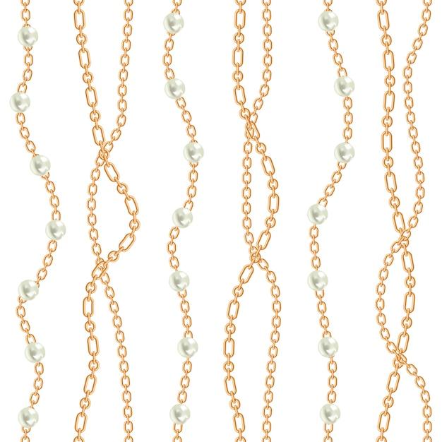 Бесшовные фон с грушами и цепями Premium векторы