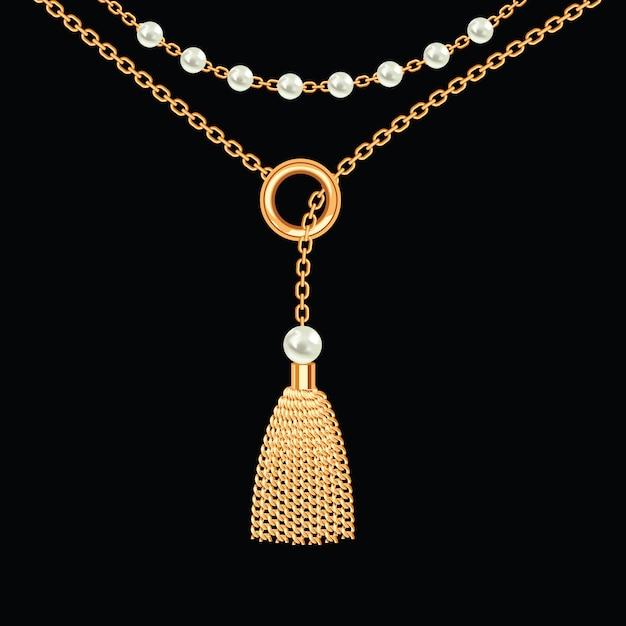 Фон с золотой металлик ожерелье. кисточка, жемчуг и цепочки. на черном. векторная иллюстрация Premium векторы