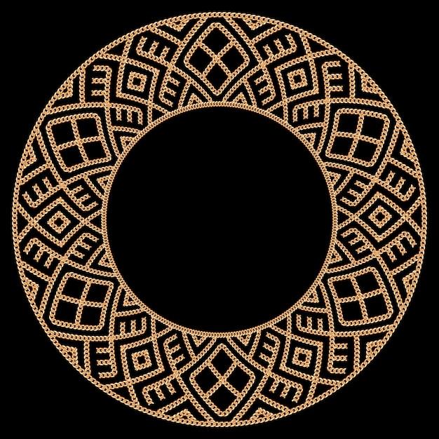 Круглые рамы с золотыми цепями. на черном. векторная иллюстрация Premium векторы