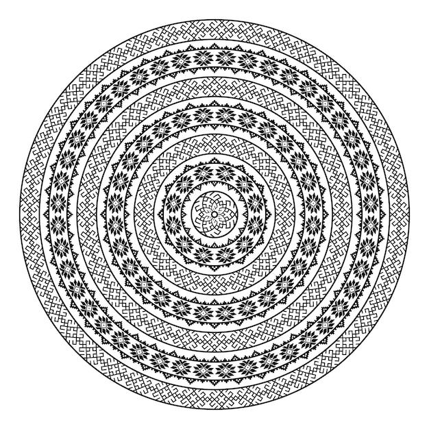 単色民族のシームレステクスチャ。丸い観賞用ベクトル図形が白で隔離。東洋唐草パターン背景。黒と白の色のベクトル図 Premiumベクター
